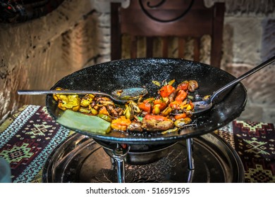 Meat grill - national cuisine isolated plate in Baku restaurant. Baku lunch menu best choise in cafe. Food in Baku. Meat plate isolated. Meat grilled balls. Baku tourism meat cuisine isolated food.