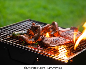 meat grilled in grilling basket on charcoal stove, barbecue party