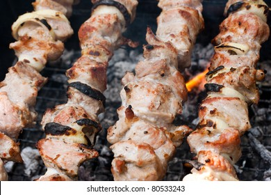 Meat grilled on the fire