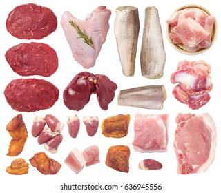Meat Isolated on White Background. Contain beef, chicken heart, pork, cracklings, gizzards, fish, liver, turkey wing.