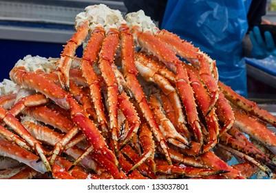Meat of king crabs in Bergen fish market, Norway.