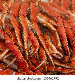 Meat of king crabs in Bergen fish market, Norway