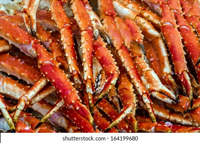 Meat of king crabs close up in fish market, Bergen, Norway