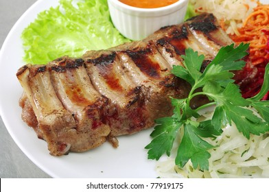 meat lamb on rib closeup