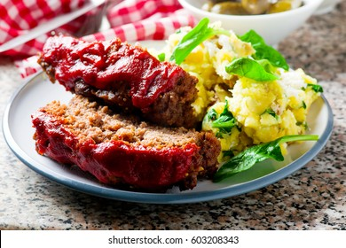Meat loaf with tomato sauce.selective focus