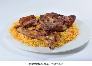 Meat madfoon or madhfoon traditional arabic rice food