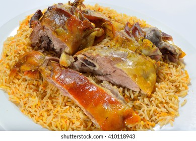 Meat mandi traditional arabic rice food