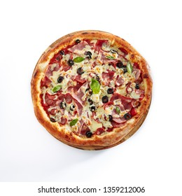 Meat Mix Pizza with Parma Ham, Sausages, Shish Kebab, Bacon, Olives, Tomato Sauce, Mozzarella Cheese Isolated on White Background. Traditional Italian Whole Flatbread on Wood Top View