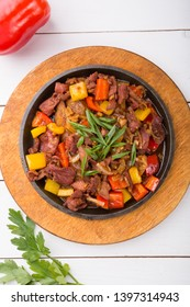 Meat mix sizzler prepared and served for lunch