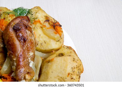 meat with mushrooms and vegetables. potatoes with chicken