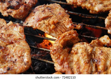 meat on grill , barbecue