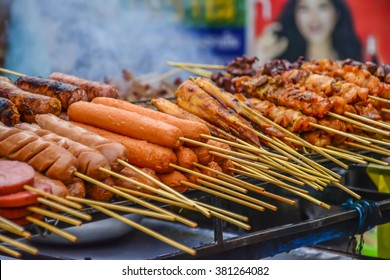 Meat on a stick, Bangkok, Thailand