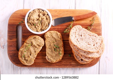 Meat pate - duck mousse spread over bread