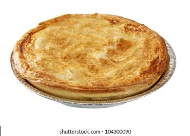 Meat pie in aluminium foil pie dish, isolated on white.