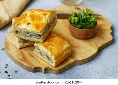 meat pie with chicken and mushrooms for lunch