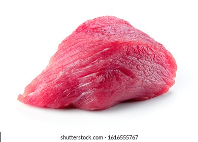 Meat piece. Meat. Raw fresh meat piece. Beef isolated. Fresh beef on white background. Full depth of field.