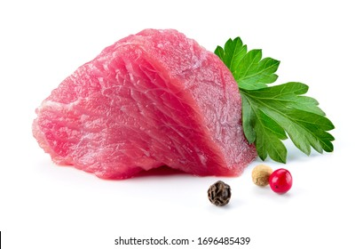 Meat piece. Meat. Raw fresh meat piece. Beef isolated. Meet slice. Fresh beef on white background. Full depth of field.