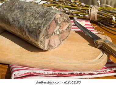 Meat from a pig's  head that is cooked and pressed in a pot with jelly. Brawn  as usually served in the Czech Republic. Tla?enka/  - Shutterstock ID 619561193