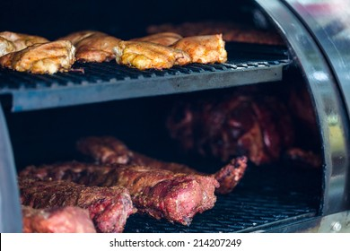 Meat prepared in barbecue smoker for competition.