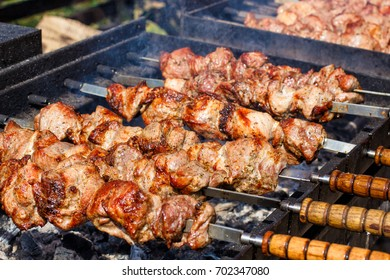 Meat prepared on coals in a barbecue. Shashlik.