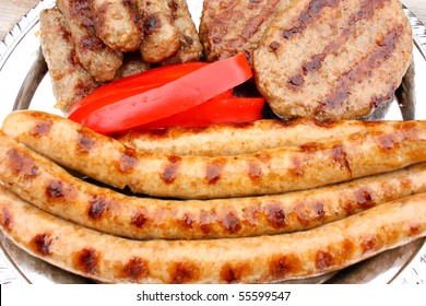 Meat prepared on the grill, ready for eating