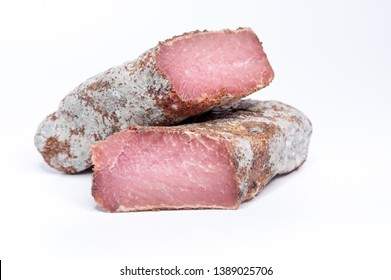Meat product in section. Bright burgundy meat. Two pieces of meat. Isolate.