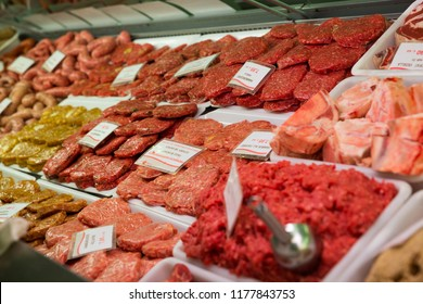 Meat production displayed for sale in butcher's shop