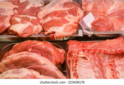 meat products in in small butcher shop