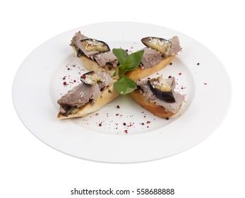 Meat Roasted Eggplant Bruschetta Italian Antipasto Topped Appetizer Snack Dish Set