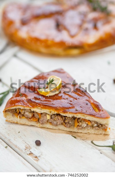 Meat russian pie on a wooden rustic background