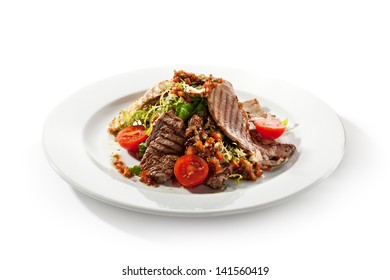 Meat Salad with BBQ Meat and Fresh Salad Leaf