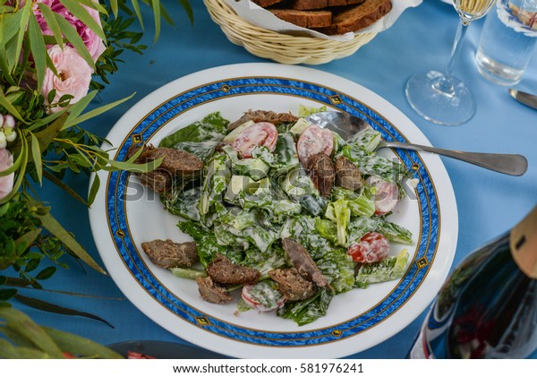 meat salad leaves and greens