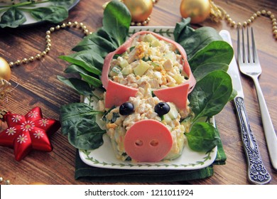 Meat salad to the New Year's table in the form of a pig - a symbol of 2019