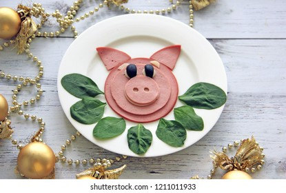 Meat salad to the New Year's table in the form of a pig -new year 2019 -year of the pig