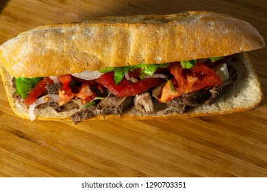Meat Sandwich with onion and tomato