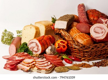 meat with sausage and bacon