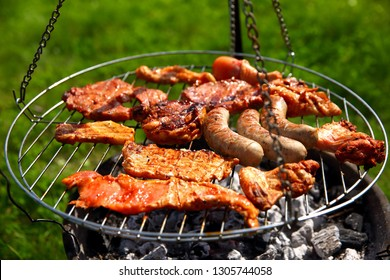 Meat and sausage on the grill is a treat for all those who prefer this diet.
