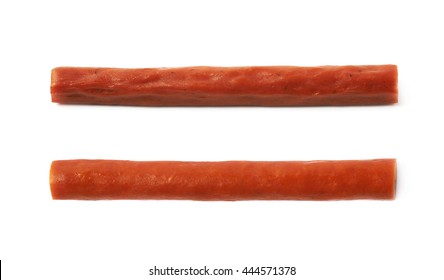 Meat sausage stick snack isolated over the white background, set of two different foreshortenings