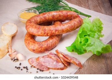 Meat and sausages Set of fresh and prepared meat. Beef, pork, salted lard and bologna and salami sausages.