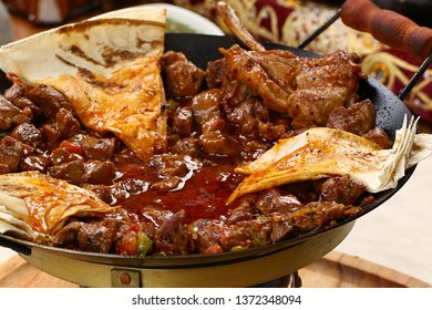 Meat saute in traditional pan - Sac kavurma, Turkish Food