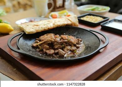 Meat Saute Turkish Et sote with Hair Pie Meat - Sac Tava - Sac Kavurma