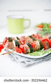 meat shish kebab with vegetables