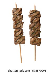 meat skewer on white background