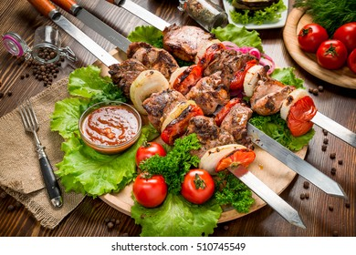 meat skewers on the grill