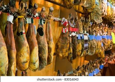 Meat at spanish market - Serrano gammon and iberico gammon