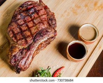 meat steak with blood of medium roast
