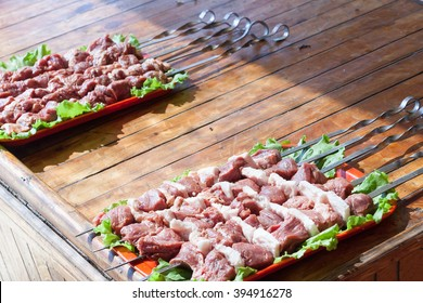 the meat strung on a skewer