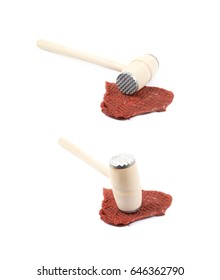 Meat tenderrizer hammer over the slice of meat isolated over the white background, set of two different foreshortenings