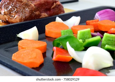 Meat and vegetable over table