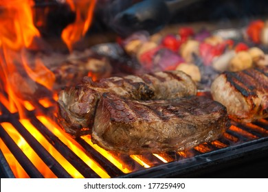 Meat and vegetables char-grilled over flame